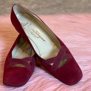 Salvatore Ferragamo Red Suede Shoes Size 9.5AA